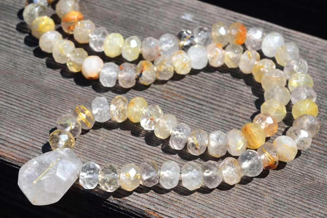 Energy Muse Guardian Angel Necklace with Rutilated Quartz